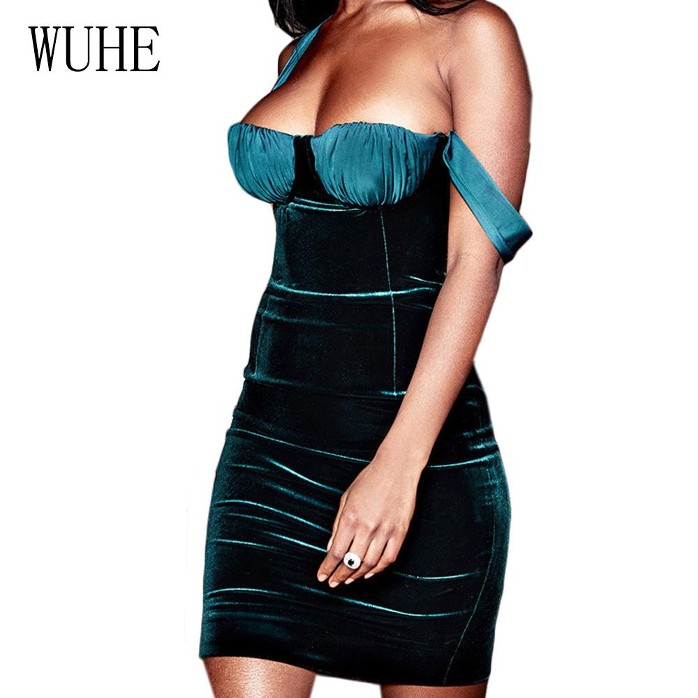 5cf8c7ee676f WUHE Vintage Blue Velvet Sexy Mini Bodycon Dress Women Elegant Party Dress  Backless Sleeveless Bandage Club Wear Vestidos Tunic Dress White Dresses  For ...