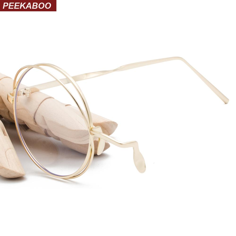 0c246c3ecf52 2019 Peekaboo Vintage Eyeglasses Frames Men Metal Frame 2019 Silver Gold  Round Frame Glasses Women Clear Lens Accessories From Marquesechriss