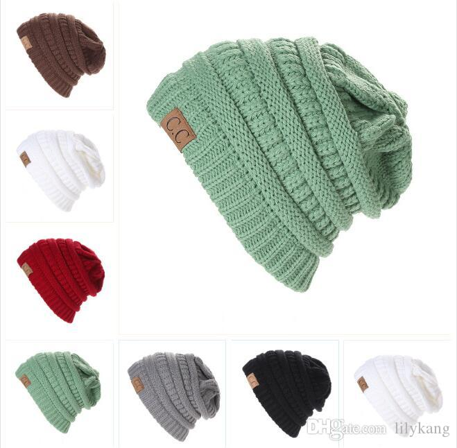 6120296b953 Cc Knit Beanie Women Cap Hat Skully Trendy Warm Chunky Soft Stretch Cable  Knit Slouchy Beanie Winter Sport Cycling Hats Ski Cap Women Warm Knit Hats  Winter ...
