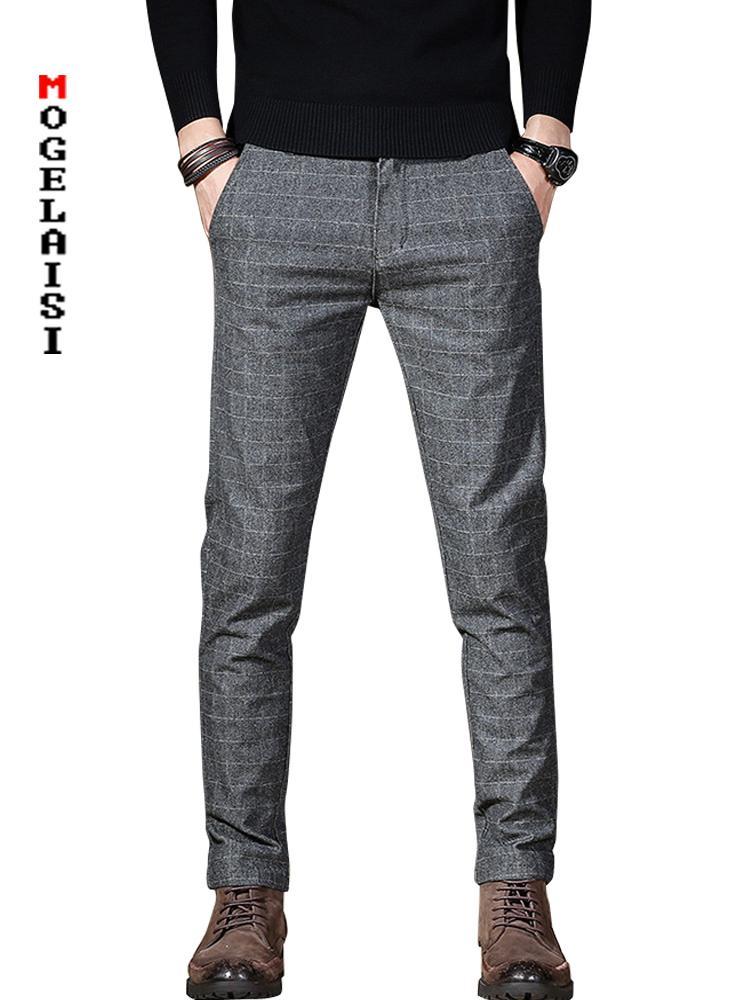 71b4bb1a8 Compre 2019 Pantalones Rectos Para Hombre Pantalones Elásticos Para Hombre  Cintura 74 94cm Pantalones Pantalones A Cuadros Para Hombre Estiramiento  Delgado ...