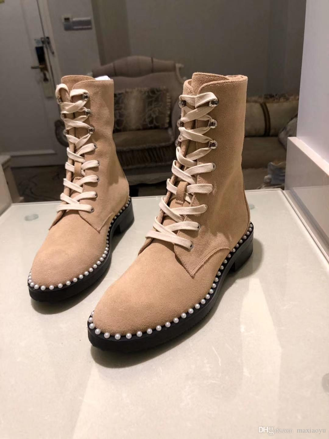 2019 spring fall womens nude beige sex suede real leather Motorcycle biker Military Luxury Fashion Charm Pearly trim lace up Combat boots