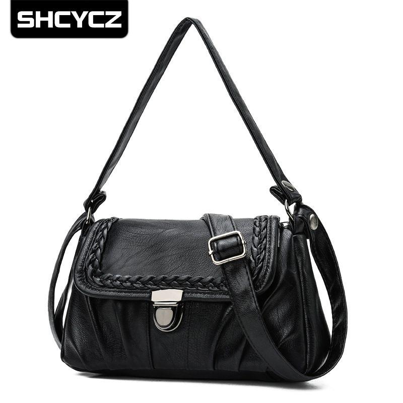 a884efb54896 2019 Women Versatile Handbag PU Leather Bags Zipper Vintage Feminina Purse  Shoulder Bag Small Female Crossbody Bags Hobo Handbags Luxury Handbags From  ...