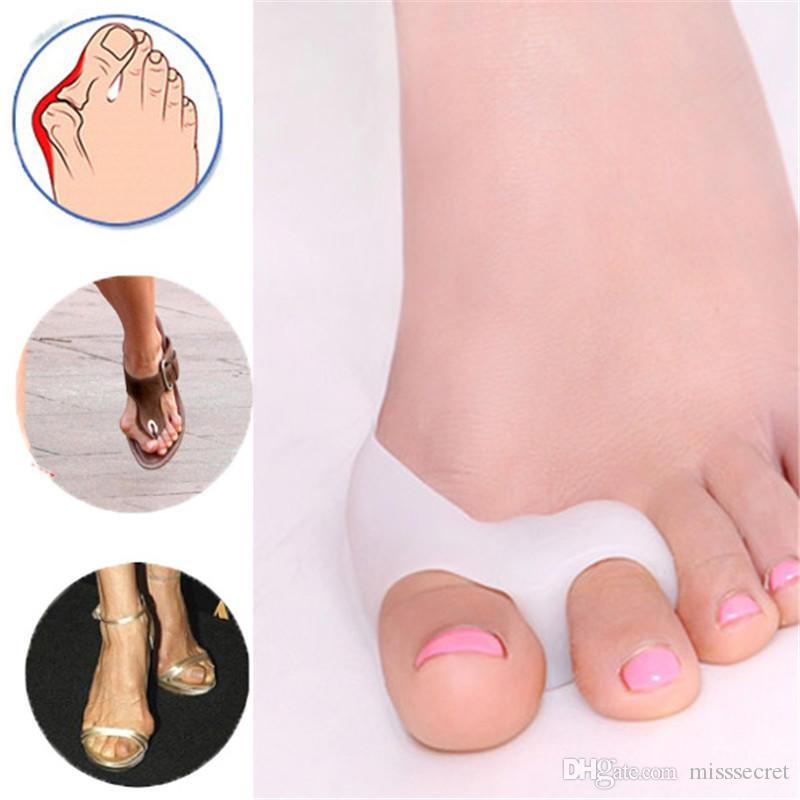 2 Pcs/lot Silicone Gel foot fingers Two Toe Separator thumb valgus protector Bunion adjuster Hallux Valgus Guard feet care
