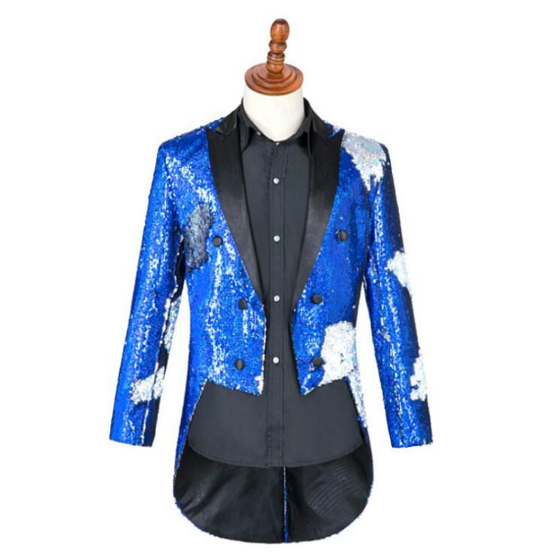2019 new male singer stage performance suit magician sequins tuxedo command uniform host costume male