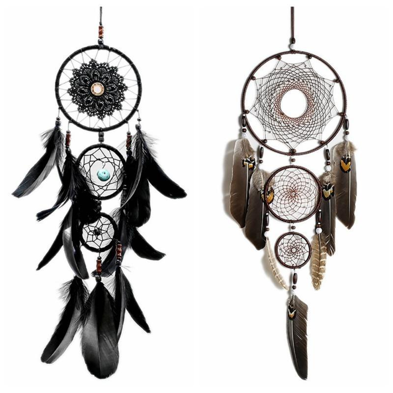 Plume Crafts Dream Catcher Wind Chimes plume Pendentif Dreamcatcher main Perle Dream Catcher Accueil Décoration murale