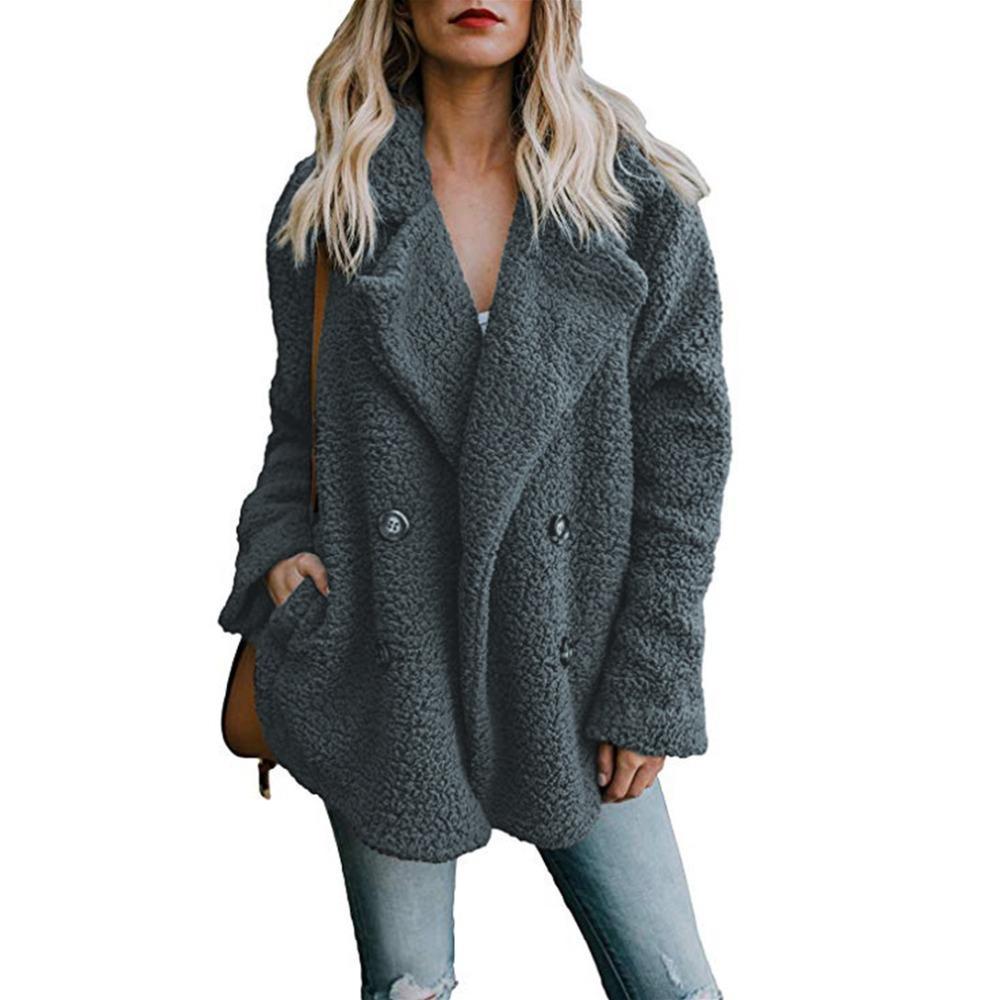 Compre Chaqueta Con Botón De Solapa Ancha Mujer Otoño Invierno 2018 Vintage  Fleece Abrigos Cálidos De Las Señoras Mezcla De Lana Suelta Blanco Oso De  ... 1db434b9dcae