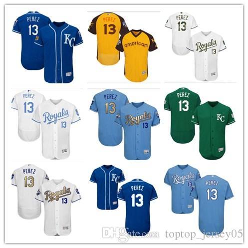 quality design e39f9 0302c 2018 can Kansas City Roya Jerseys #13 Salvador Perez Jerseys  men#WOMEN#YOUTH#Men s Baseball Jersey Majestic Stitched Professional  sportswear