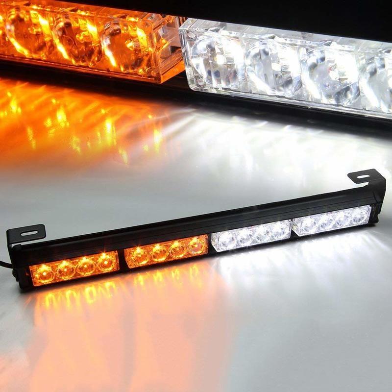Vehicle Strobe Lights >> 18 16led Emergency Warning Traffic Advisor Vehicle Strobe Light Bar White Amber