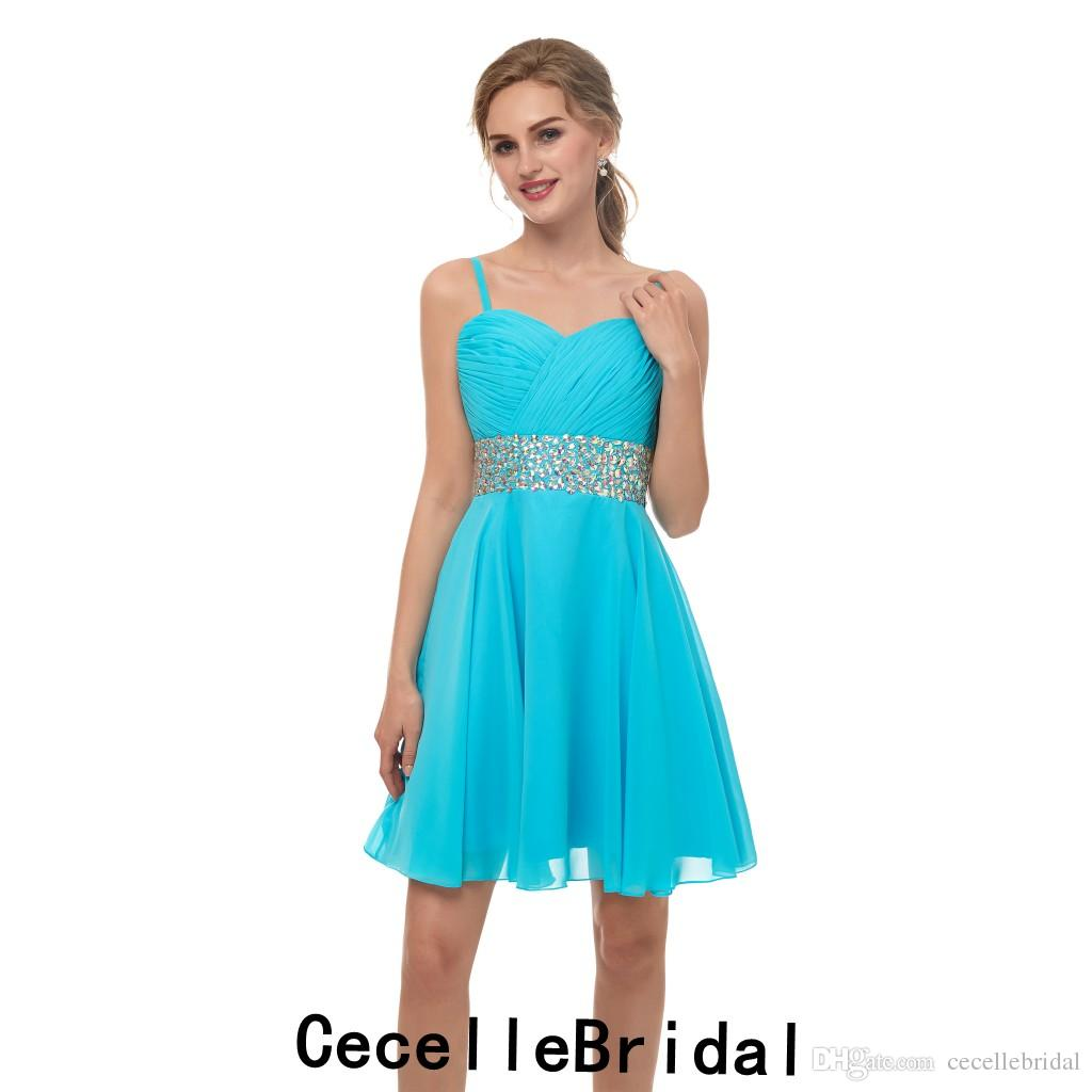 81c022b07fe A-line Blue Chiffon Sweetheart Short Cocktail Party Dress With ...