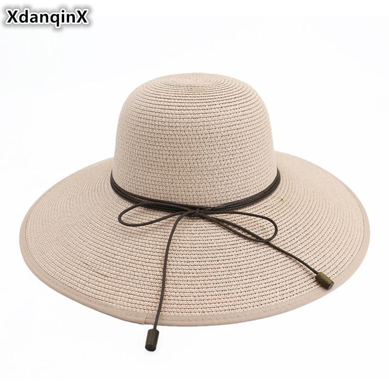 Compre XdanqinX Mujeres Adultas Sombrero De Paja Visera De Gran Tamaño Sombreros  Para El Sol Elegante Moda Simple Sombrero De Playa Para Mujeres Plegable ... 7cd49e79656