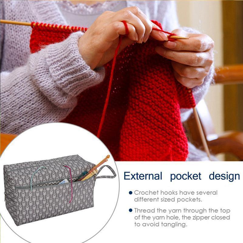 2019 Yarn Storage Bag Organizer With Divider For Crocheting Knitting