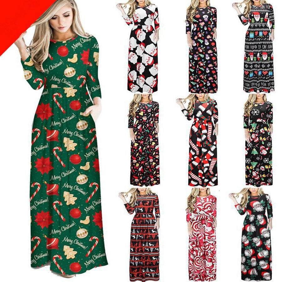 Christmas Women Clothes O- neck Christmas Tree Santa Claus Flower Print Dress Lady Casual Long Sleeve Long Chirstmas Dress Gifts RRA2313
