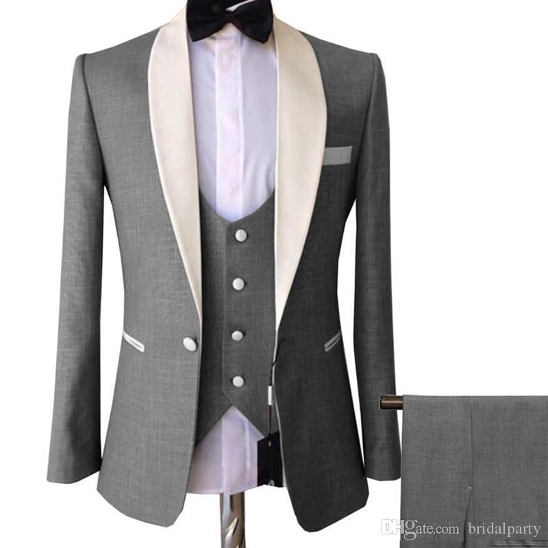 Light Grey New Stylish Mens Wedding Suits 3 Pieces Shawl Lapel Groom Suits for Men Groom Tuxedos Groomsmen Suit Jacket+Pants+Vest