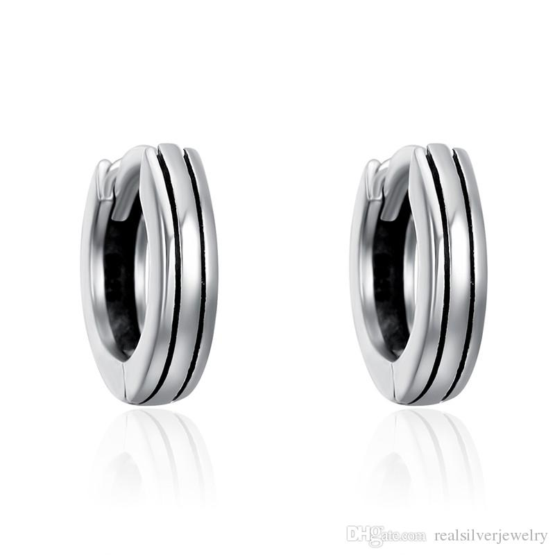 f6b64f6c8 Classic 100% 925 Sterling Silver Hiphop Round Rock Hoop Earrings for ...