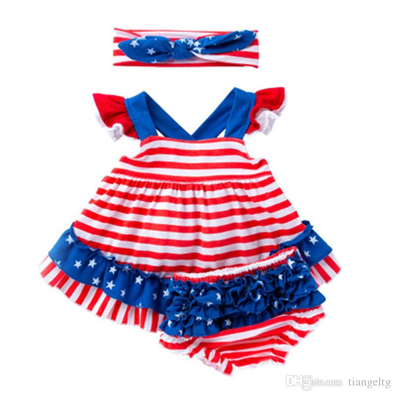Girls Jumpsuit Clothing Sets Striped Fold Shorts Three Piece Suit American Flag Independence National Day Striped Printed Bow Headband