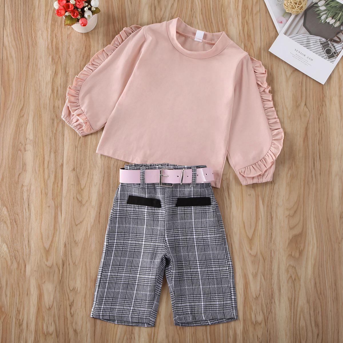 Pudcoco niño del bebé ropa de la manga larga de color sólido volante camisetas Pantalones cortos de las telas escocesas de la correa traje ropa de algodón Set