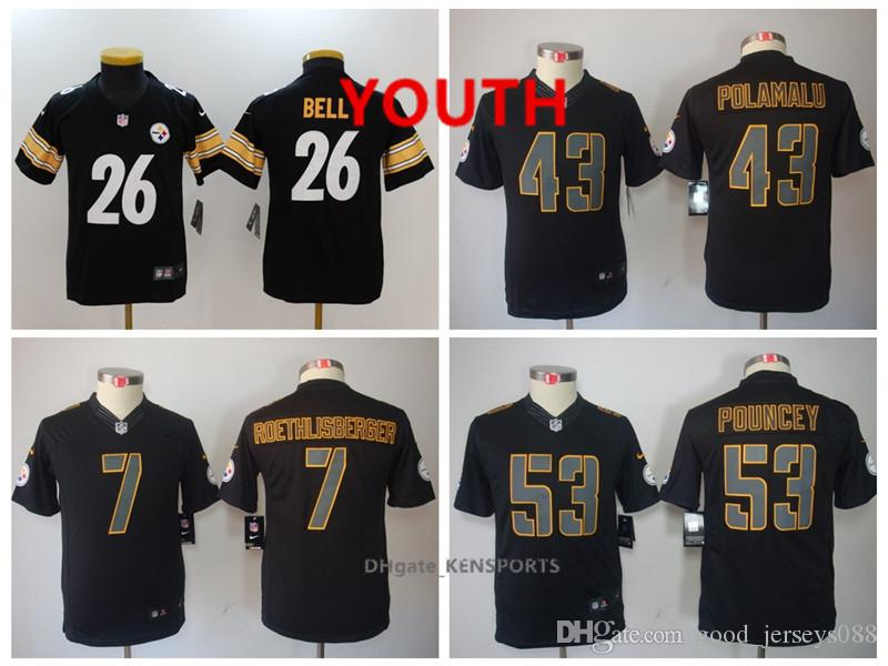 new product 3e384 bc34c Youth Pittsburgh Football Steelers Jersey 26 Le'Veon Bell 43 Troy Polamalu  7 Ben Roethlisberger 53 Maurkice Pouncey Color Rush jersey