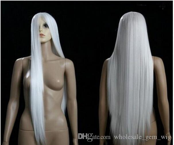 FREE SHIPPIN + + C Sexy Anime Cosplay Long Party White Hair 100cm long cosplay wig Kanekalon hair queen brazilian no lace front made wig