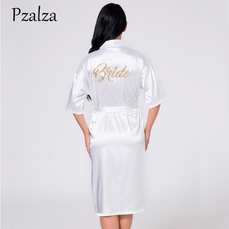 33548af29748 2019 Wedding Party Bride Faux Silk Robe Makeup Morning Robe Summer Women  Sleepwear White Pink Red Female Satin Bath Kimono From Vanilla15