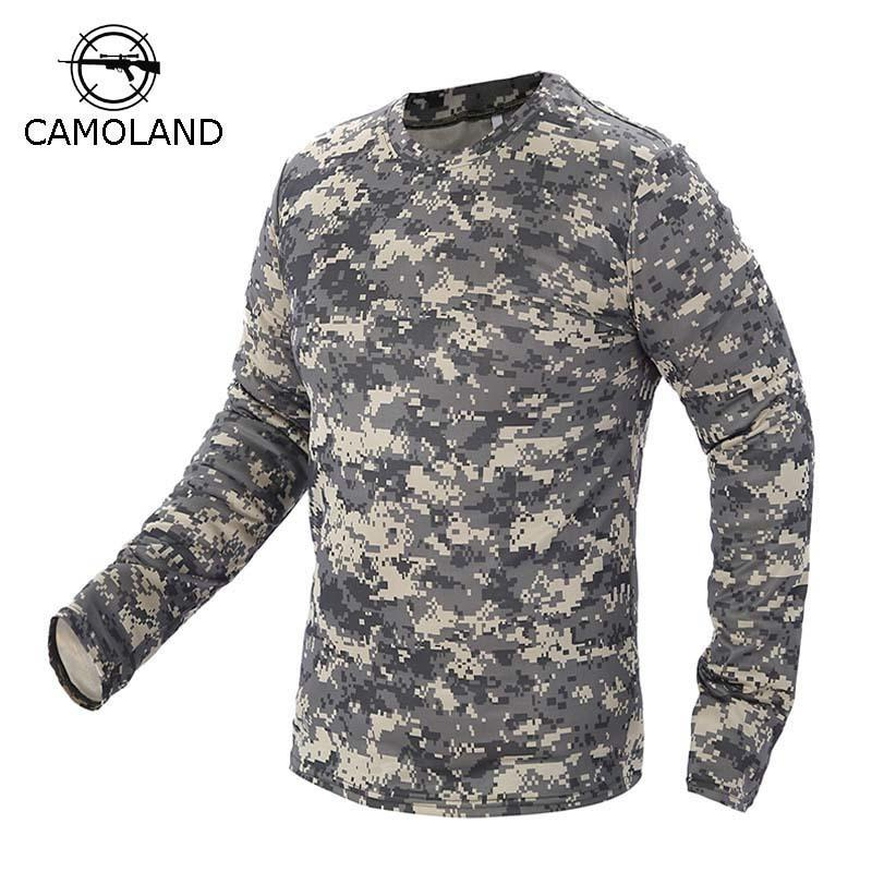 2017 New Tactical Military Camouflage T Shirt Male Breathable Quick Dry Us Army Combat Full Sleeve Outwear T-shirt For Men C19041303