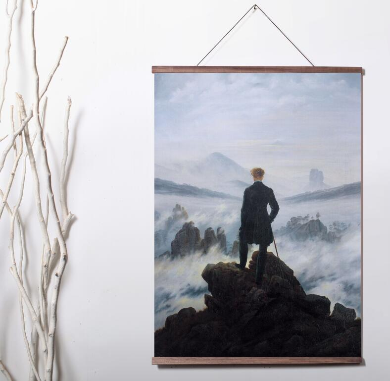 Caspar David Friedrich Wanderer Above The Sea of ​​Fog Lienzo Giclée Arte de la pared Lienzo póster con rollo de madera