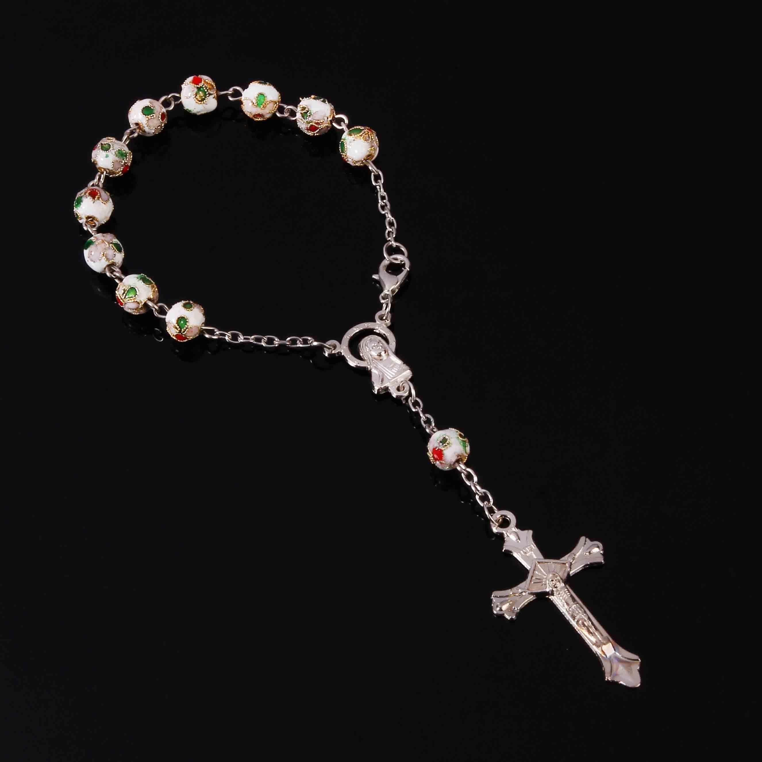 1266b622bb50 Compre Brazalete Católico En Forma De Cruz Con Rosario De Cloisonne De 8  Mm