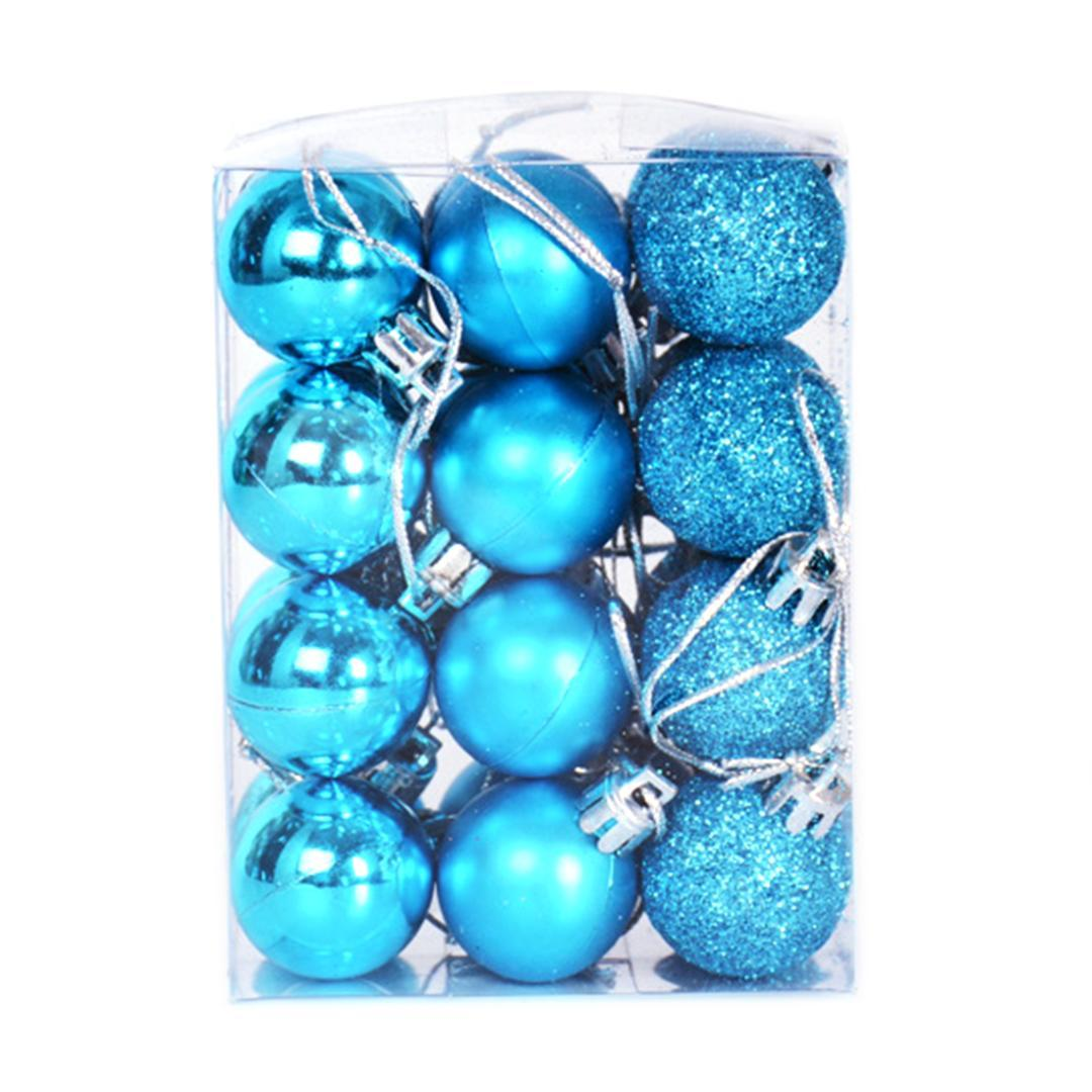 Hot 24Pcs / Lot 3cm Christmas Ball Hanging Ornaments Baubles per la decorazione dell'albero di Natale Drop Shipping - Lake Blue