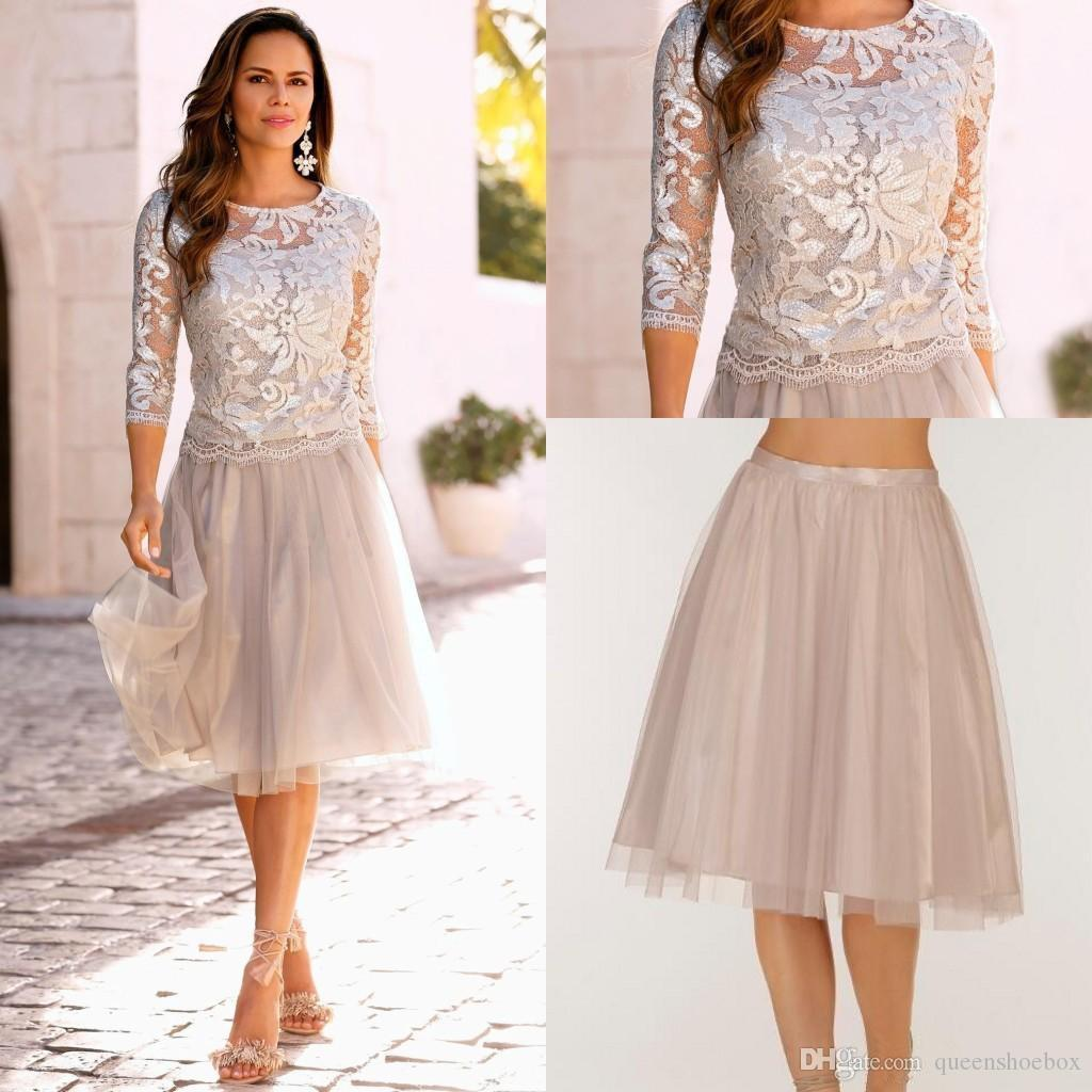 2020 Elegant Two Piece Boho Mother Of The Bride Dresses Lace Tulle Knee Length 3/4 Long Sleeves Formal Women Wedding Evening Gowns