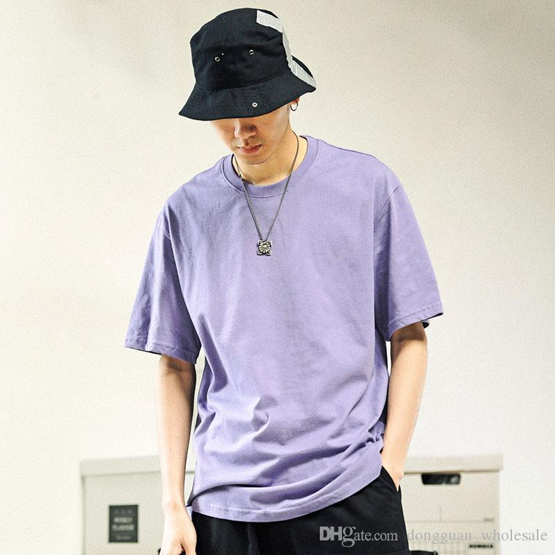 b4c2117b9 Summer 2019 Harajuku Plain T Shirt Streetwear Men Hip Hop T Shirt Coral  Orange Casual Tshirts Cotton Basic Tops Tee Short Sleeve Funny T Shirts For  Guys ...