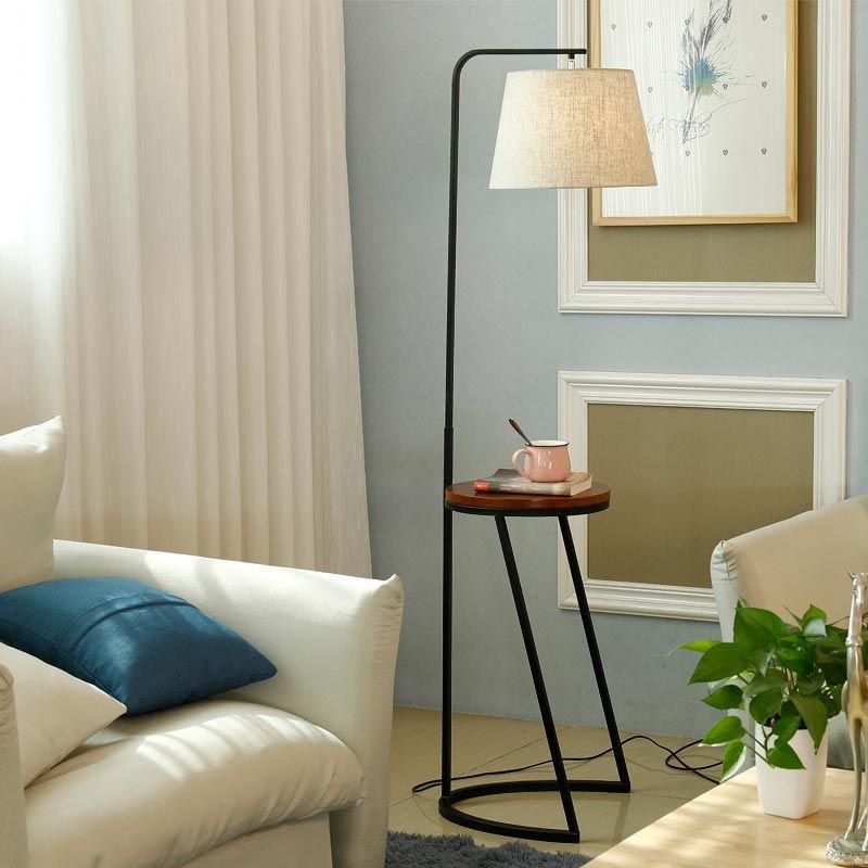 Moderno pavimento in legno chiaro per soggiorno Loft lampada in stoffa  paralume in tessuto Decor casa illuminazione Fixtrues ferro bianco E27  110-240V