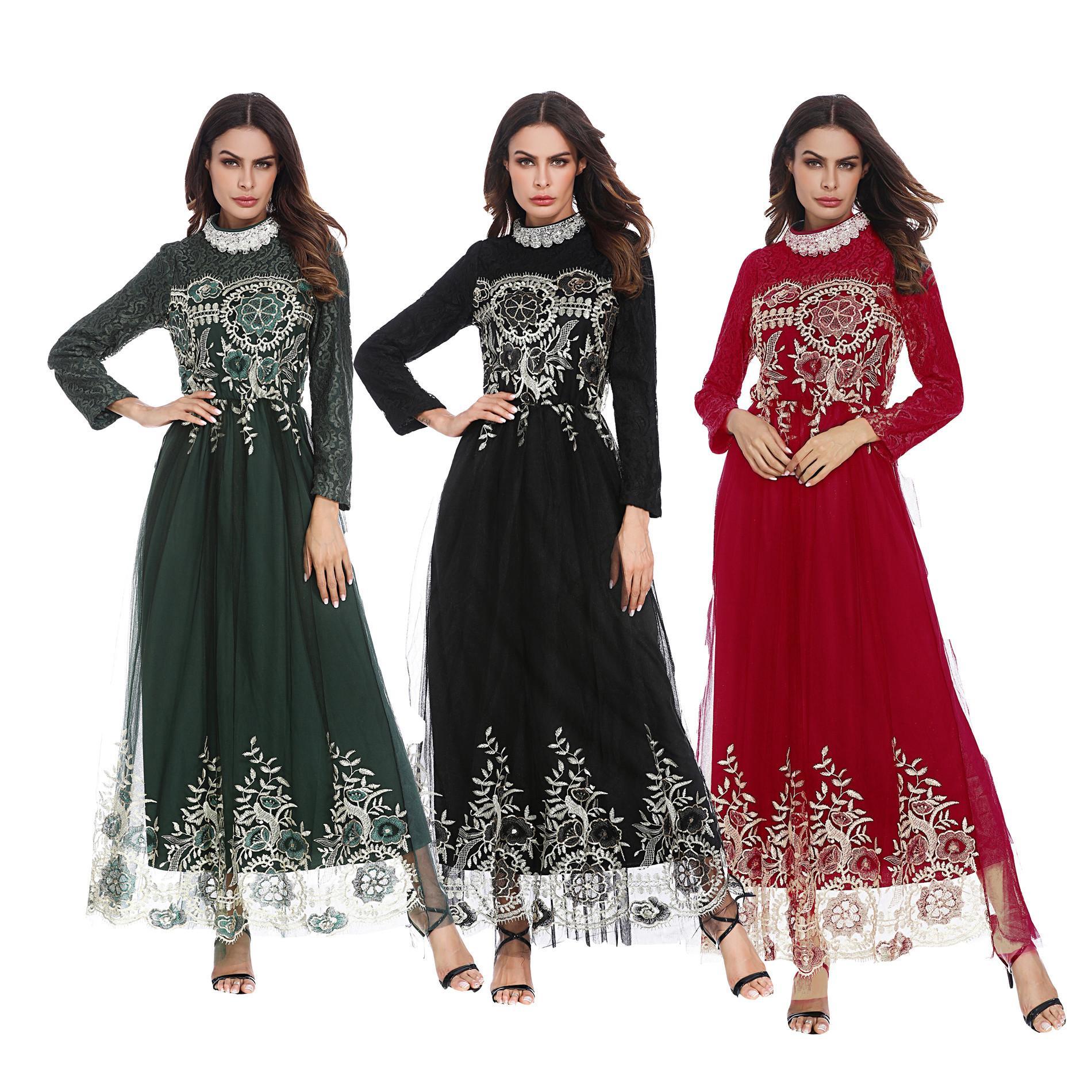4b80ae599a2 Arabian Lace Mesh Paneled Maxi Dress Middle Eastern Muslim Bridesmaid Dress  Womens Crew Neck Flora Panelled Dress Long Evening Dress Red Evening Dress  From ...