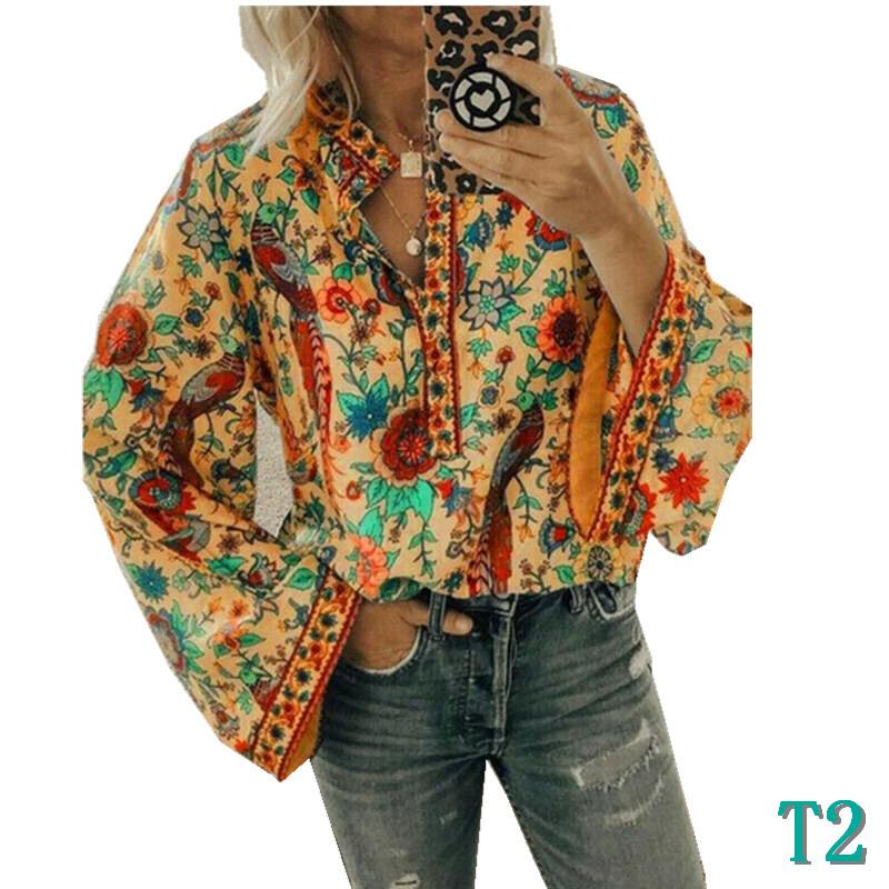 Fashion Women Blouses Autumn Designer Casual Tops Boho Lantern Shirt Long-sleeved Loose V Neck Floral Shirts Tops 5 Colors S-2XLT2