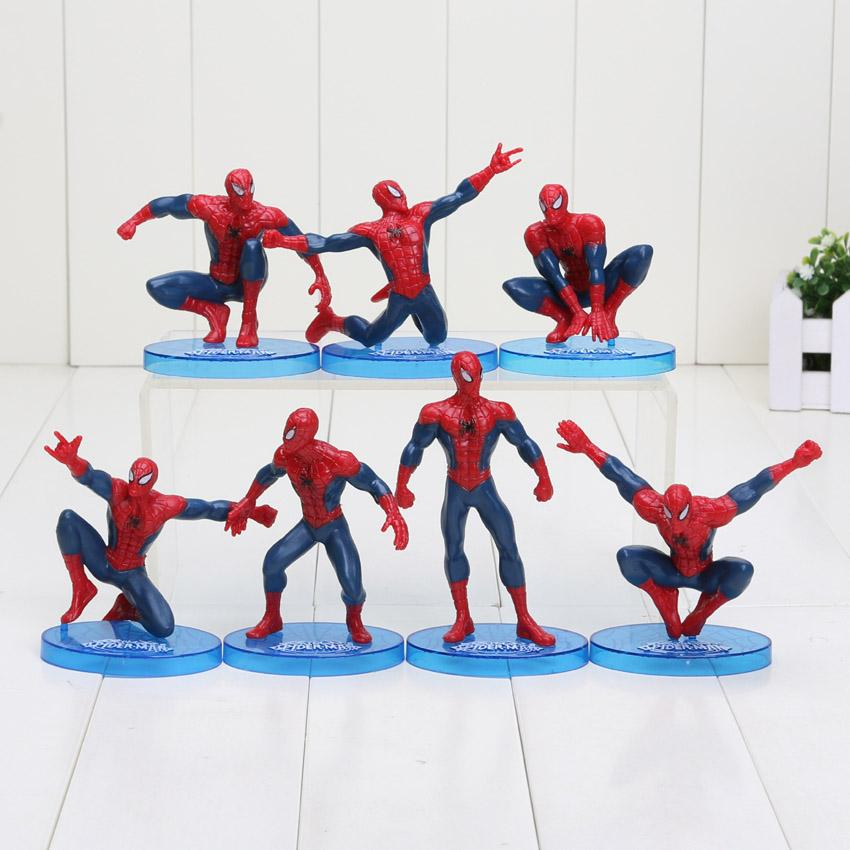 7PCS//Lot figure the avenger spiderman action figure set collectible model toys