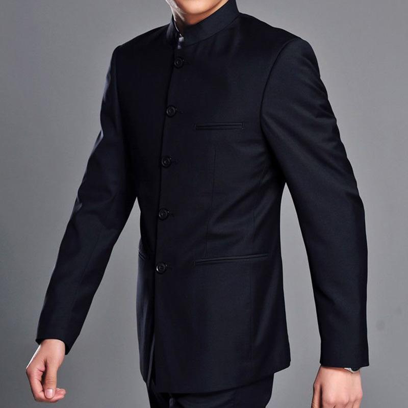 new concept ced99 5e466 Giacca da uomo con colletto alla coreana per uomo Giacche da giacca a  tunica monopetto stile cinese tradizionale colore solido blu navy / grigio