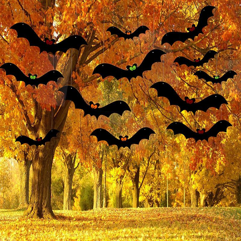 12pcs / set di Halloween Decorazione per la Casa Hanging Bat ornamento partito decorazione di Halloween Haunted House Bar Accessori Halloween Decor