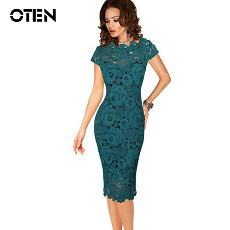 ae7ec3849421 Oten Office Ladies Dresses Elegant Womens Sexy Lace Hollow Out Knee Length  Work Office Business Sheath Bodycon Dress Robe Crayon Y190426 Green Dress  Pink ...