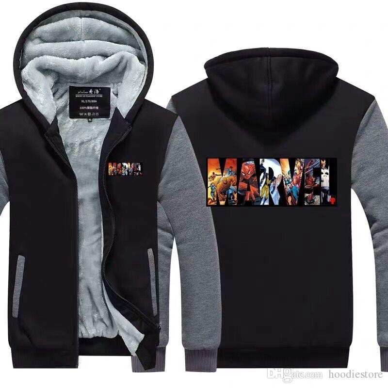 Acheter Nouvelle Arrivée 2019 Marvel Hoodies Superheroes Hommes Hiver  Épaissir Polaire Zipper Casual Jacket Super Chaud Sweat USA Taille UE Plus  La Taille ... 412478a40cc7