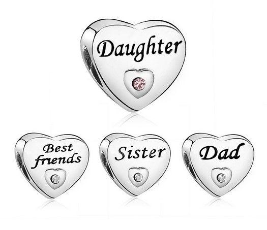 cc64e898aa62 Fit Pandora Charm Bracelet European Silver Charms Spacer Beads Sister hija  mejor amigo DIY cadena de la serpiente para las mujeres del collar del ...