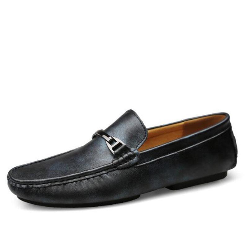 45d73c83 Compre Zapatillas De Deporte De Cuero Suave Para Hombre Zapatos De Mocasín  Hombres Negros Pisos Cómodos Hombres Casuales Mocasines De Cuero Naturales  ...