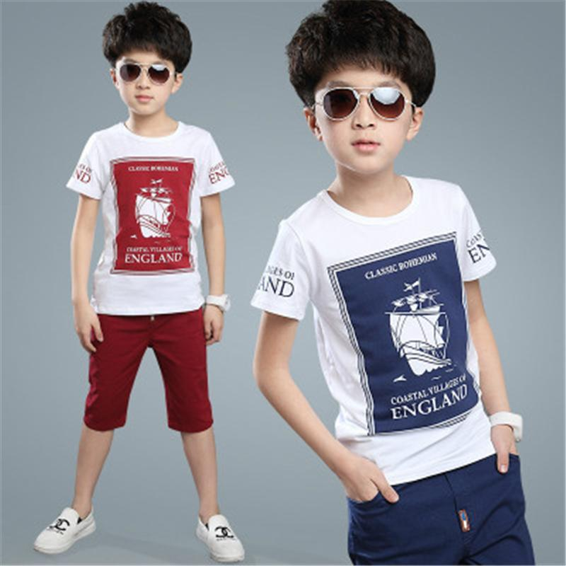 18abeaf6ada9 2019 2018 Kids Cloths Sets For Boy Short Sleeved T Shirt+Pants Sport Sets Child S  Summer Boys Suit New Sports Sailing 4 14 Ages From Jingtianwat