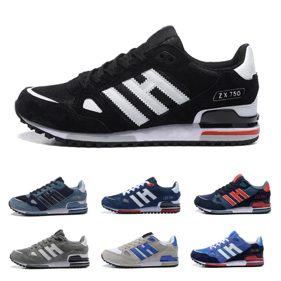 pretty nice 2401b 5e8e7 ZX750 Running Shoes Designer Sneakers zx 750 Mens Womens White Red Blue  Breathable Athletic Outdoor Sports Jogging Walking Shoes Size 36-44