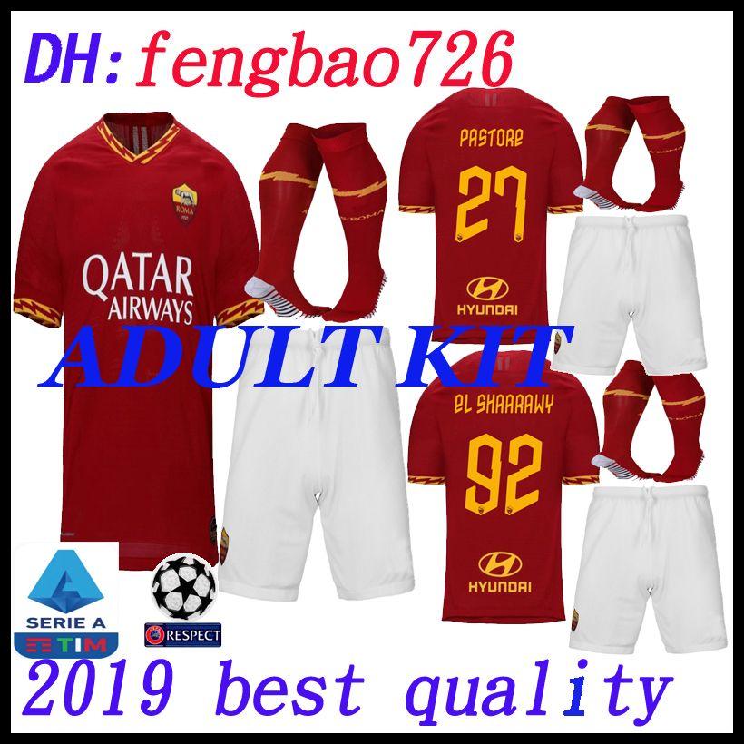 8fb6290ef 2019 ADULT Kit 2019 2020 AS Roma Thailand Home Soccer Jerseys 19 20 DZEKO  PEROTTI TOTTI DE.ROSSI Rome Camisetas Football Shirt Kit Uniform From  Fengbao726, ...