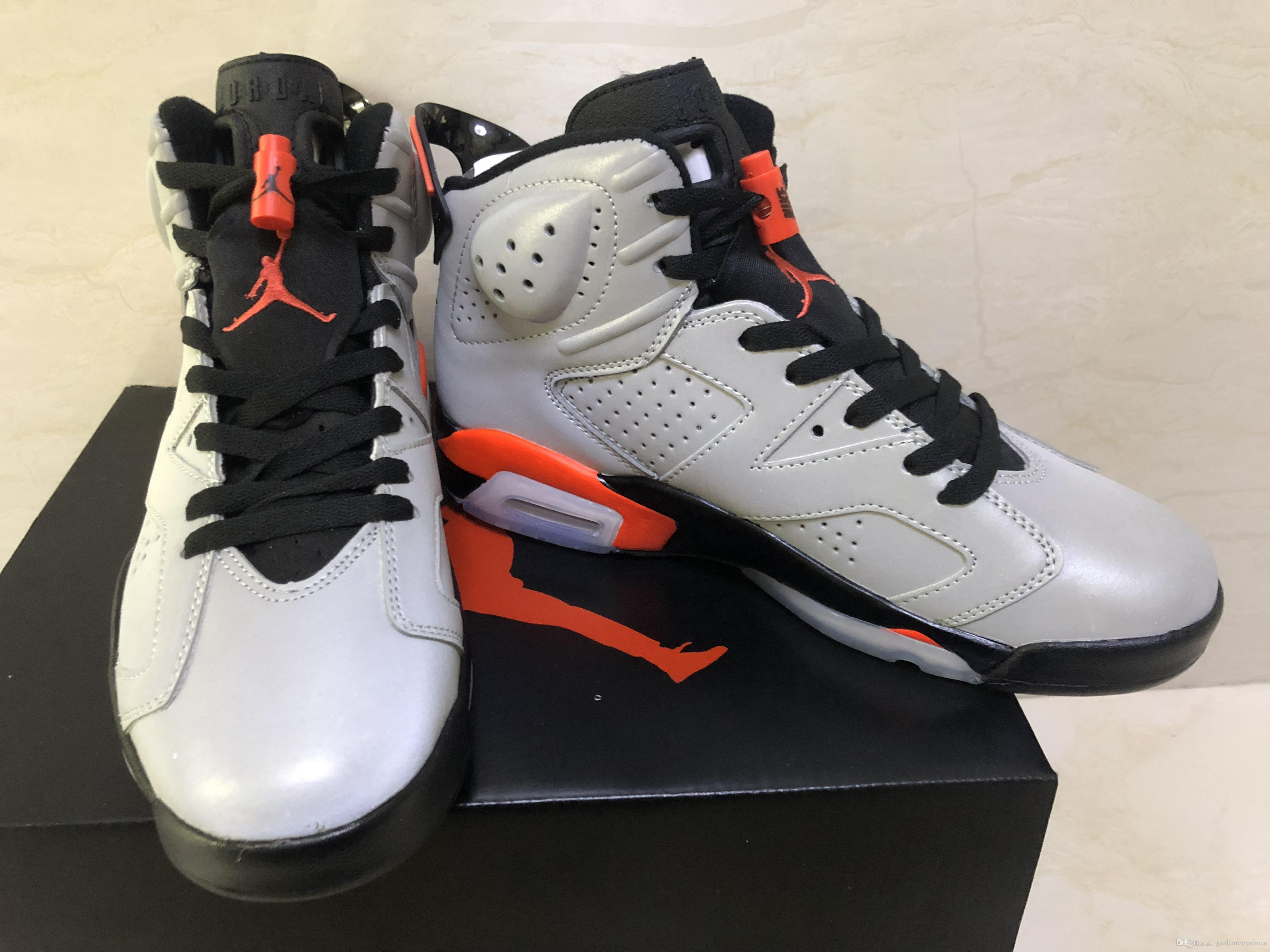 7802a7304ad2ed 6s Men s Basketball Shoes 6 Silver Gray 3M Refiective Lnfrared ...