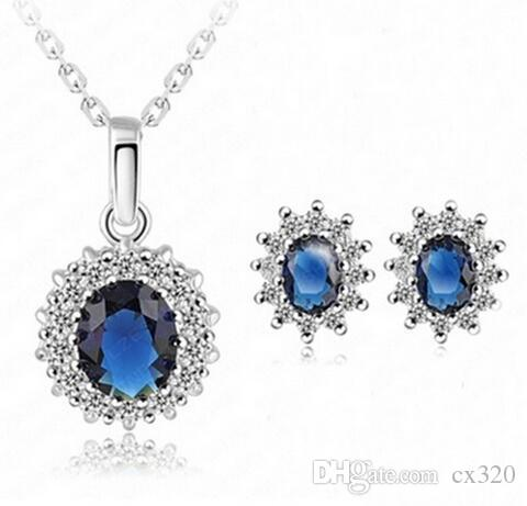 2018 New Hot Fashion Bride Wedding Banquet Luxury Oval Blue Austrian Crystal Pendants Necklace/Earrings For Women Jewelry Set