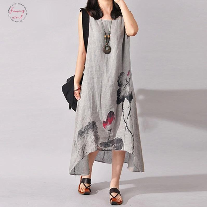 Plus Size Painting Zanzea Summer Women Vintage Ink S-5Xl Sleeveless Sleeveless Cotton Linen Dress Loose Casual Midi-Calf Dress Vestidos