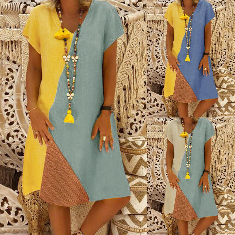 5f7db73d4f1d Vfemage Women Elegant Contrast Patchwork Colorblock Vintage Wear To Work  Official Business Party Bodycon Pencil Sheath Dress 167