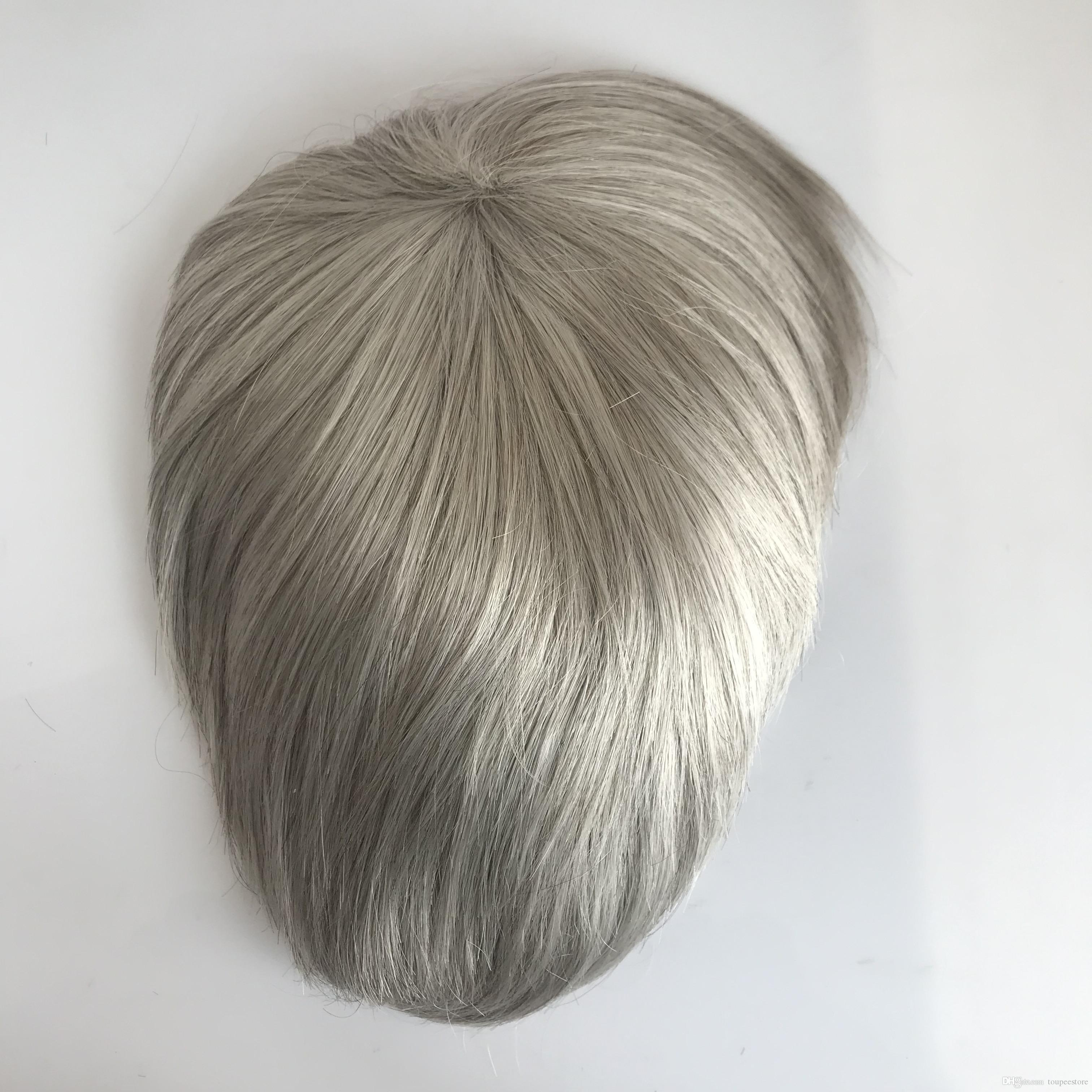 Grey Hair Men Toupee Natural Looking Indian Remy Hair Clear Poly Back Human Men Hair Toupee
