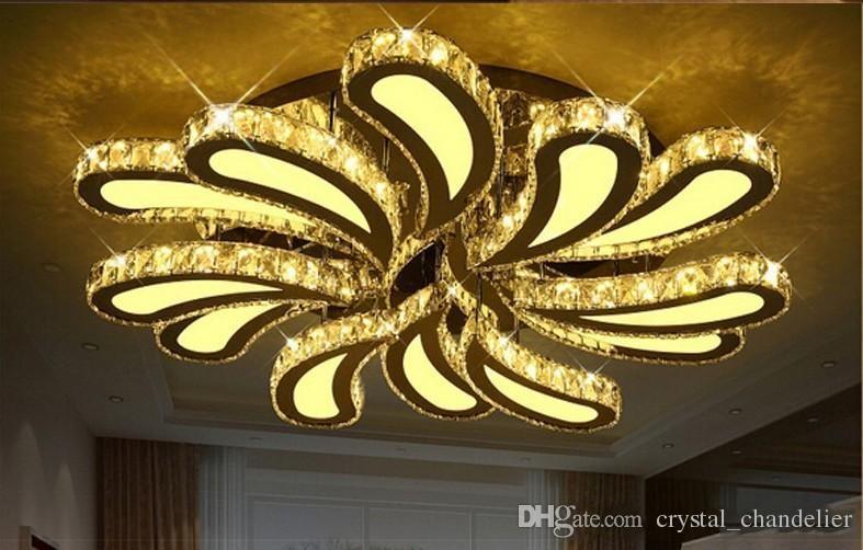 Plafoniere In Cristallo A Soffitto : Acquista nuovo design led plafoniere di cristallo soggiorno lustre