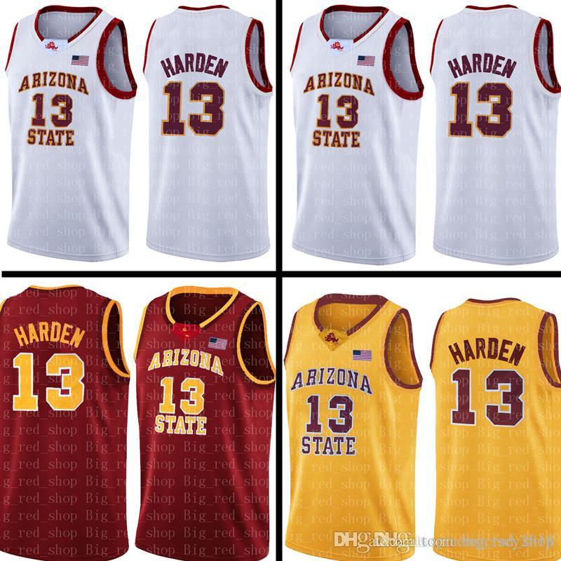aefd941a1 Cheap James 13 Harden Jersey NCAA University Mens White Red Yellow Cheap  Wholesale Basketball Jerseys Embroidery Logos S-XXL