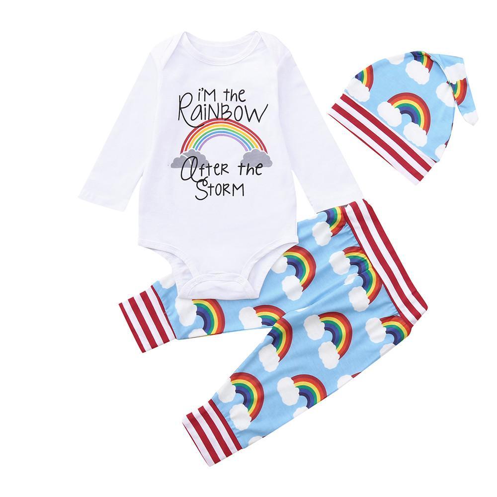 4e8ce1b25 MUQGEW 2019 Fashion Baby's Sets Newborn Baby Girl Boy Rainbow Romper ...